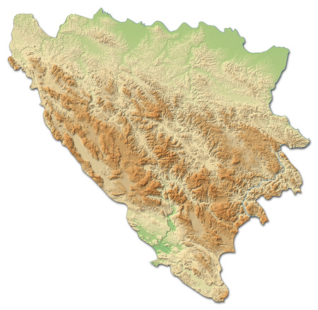 bosnia: Relief map of Bosnia and Herzegovina with shaded relief.
