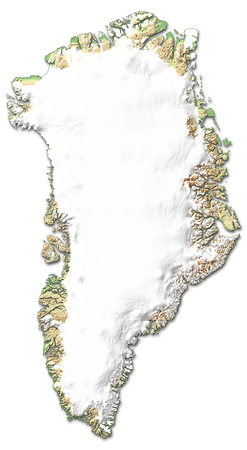 Relief map of Greenland with shaded relief.