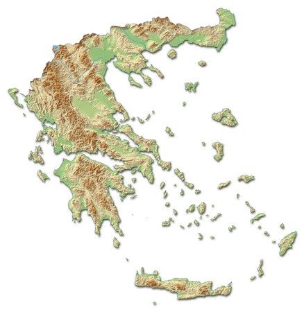 three colored: Relief map of Greece with shaded relief.