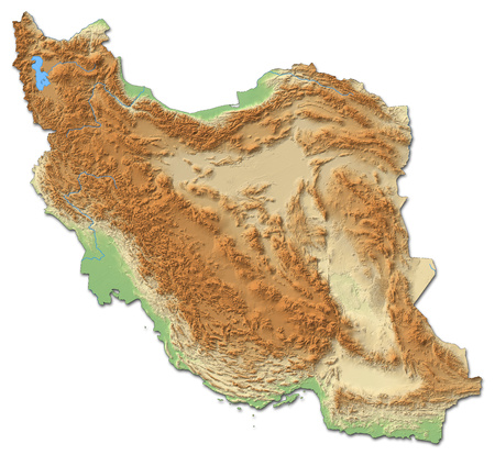 Relief map of Iran with shaded relief.