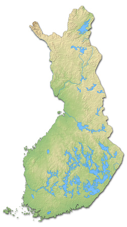 Relief map of Finland with shaded relief.