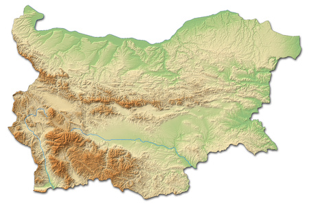 Relief map of Bulgaria with shaded relief.