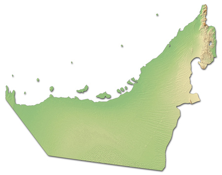 southwestern asia: Relief map of United Arab Emirates with shaded relief. Stock Photo