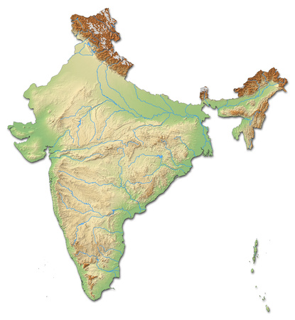 three colored: Relief map of India with shaded relief. Stock Photo