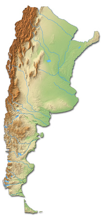 Relief map of Argentina with shaded relief.