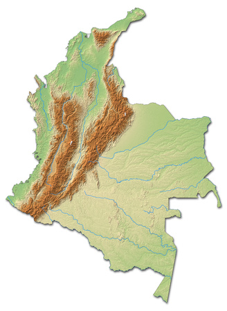 コロンビアの陰影付きのレリーフ マップ。