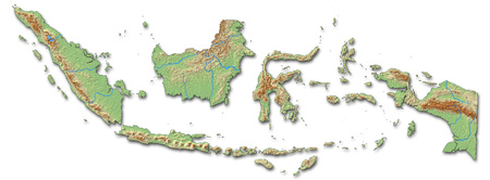 shaded: Relief map of Indonesia with shaded relief. Stock Photo
