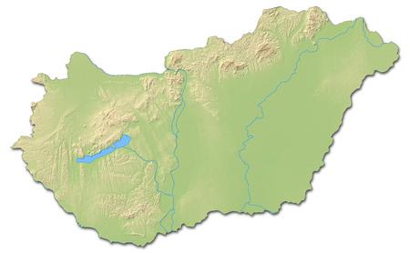 Relief kaart van Hongarije met gearceerde opluchting.