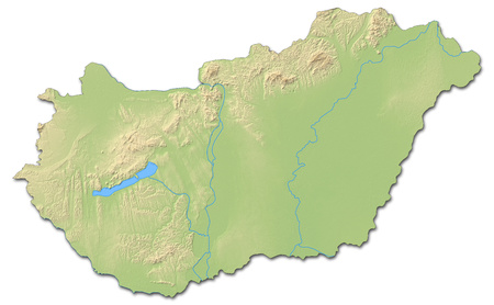 Relief map of Hungary with shaded relief.