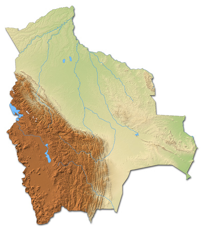 Relief map of Bolivia with shaded relief.