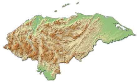 honduras: Relief map of Honduras with shaded relief.