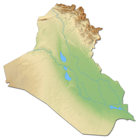 Relief map of Iraq with shaded relief. Banco de Imagens
