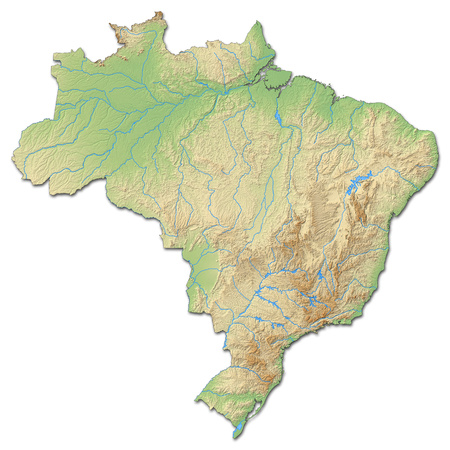 Relief map of Brazil with shaded relief.