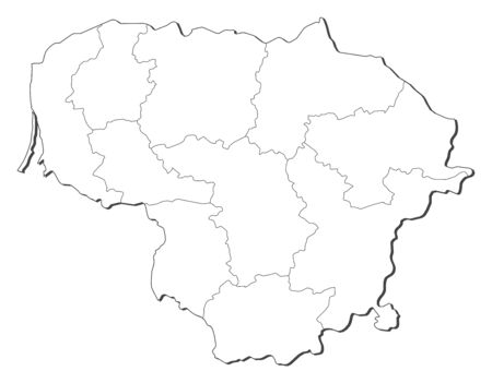 shady: Map of Lithuania, contous as a black line.