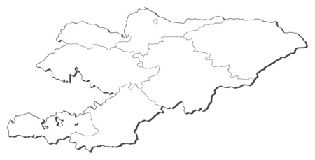 shady: Map of Kyrgyzstan, contous as a black line.