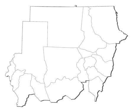 Map of Sudan, contous as a black line. Illustration