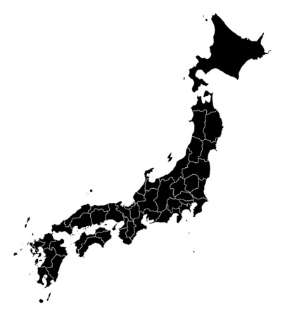 provinces: Map of Japan in black with the provinces.