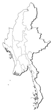 Map of Myanmar, contous as a black line. Illustration