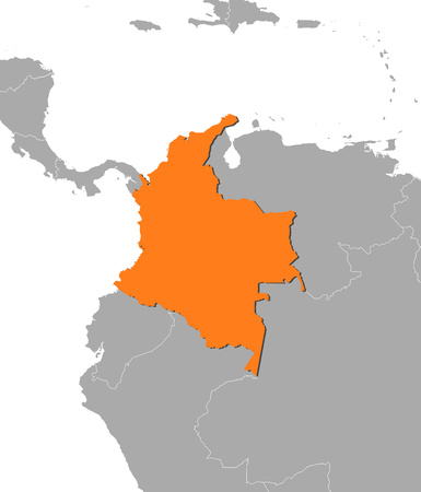 Map of Colombia and nearby countries, Colombia is highlighted in orange. Illustration