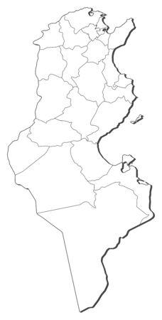 Map of Tunisia, contous as a black line.