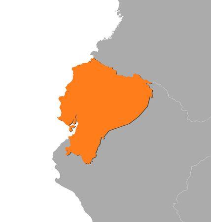 republic of ecuador: Map of Ecuador and nearby countries, Ecuador is highlighted in orange.