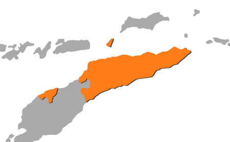 Map of East Timor and nearby countries, East Timor is highlighted in orange.