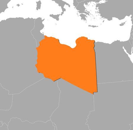 lybia: Map of Libya and nearby countries, Libya is highlighted in orange.