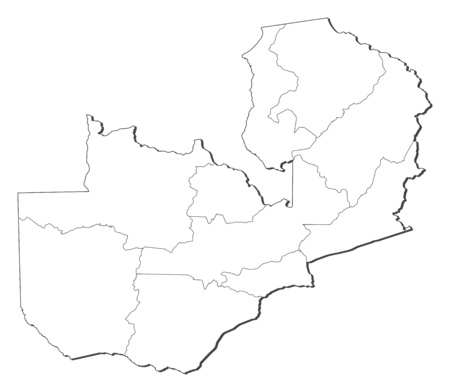 Map of Zambia, contous as a black line. Illustration