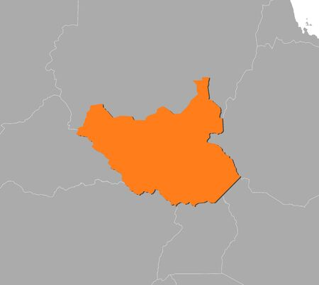 Map of South Sudan and nearby countries, South Sudan is highlighted in orange.
