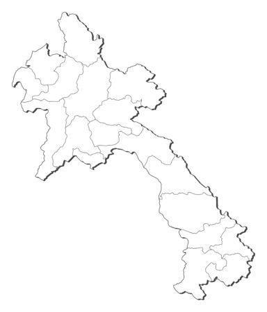 Map of Laos, contous as a black line.