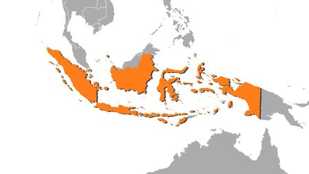 southeastern asia: Map of Indonesia and nearby countries, Indonesia is highlighted in orange.