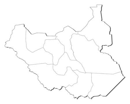 south sudan: Map of South Sudan, contous as a black line.