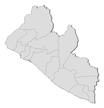 Map of Liberia with the provinces.