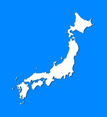 Map of Japan wich blue background.