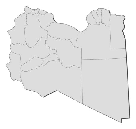 lybia: Map of Libya with the provinces.