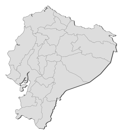 Map of Ecuador with the provinces. Illustration