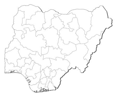 Map of Nigeria, contous as a black line.