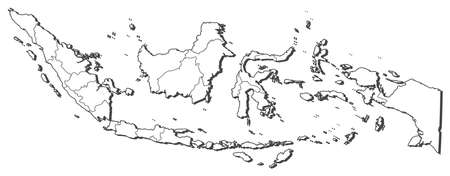 three colored: Map of Indonesia, contous as a black line. Illustration