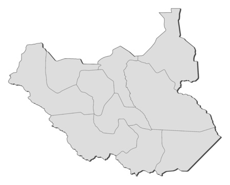 south sudan: Map of South Sudan with the provinces.
