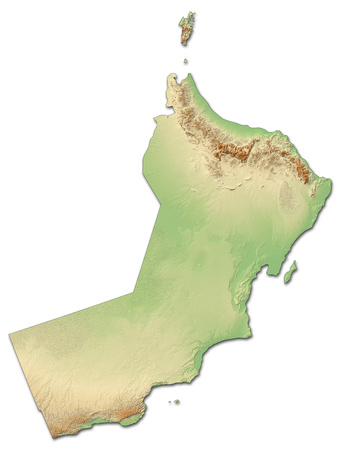 southwestern asia: Relief map of Oman with shaded relief.