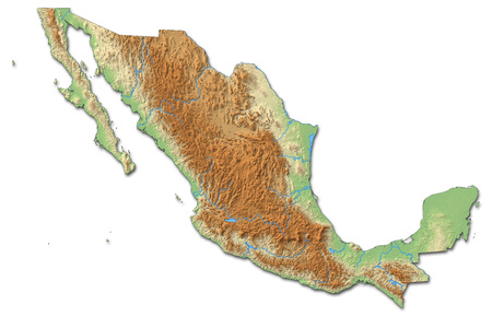 Relief map of Mexico with shaded relief.