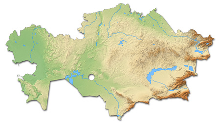 Relief map of Kazakhstan with shaded relief.