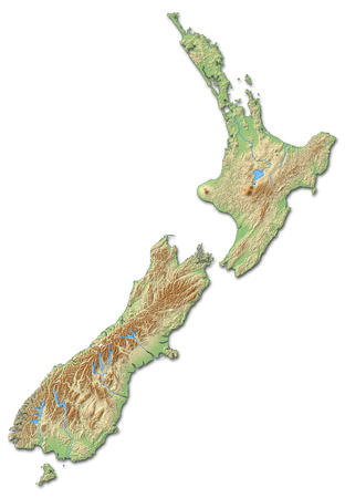 Relief map of New Zealand with shaded relief.