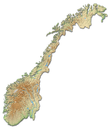 Relief map of Norway with shaded relief.