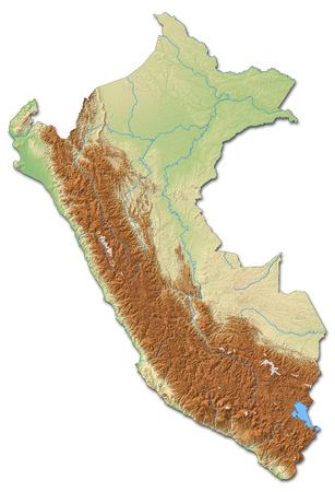 mapa en relieve del Perú con relieves y sombreados. Foto de archivo