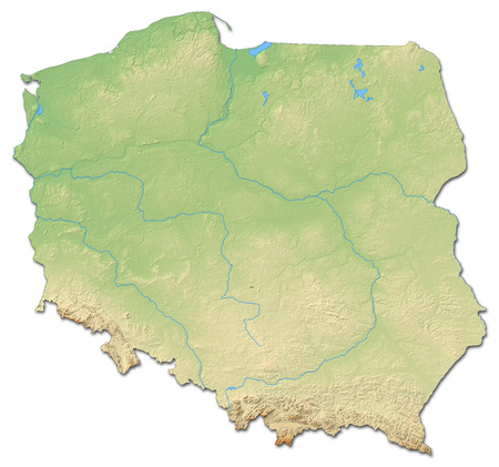 Relief map of Poland with shaded relief.