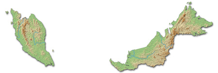 three colored: Relief map of Malaysia with shaded relief.