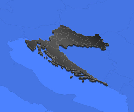Map of Croatia and nearby countries, Croatia as a black piece. Illustration
