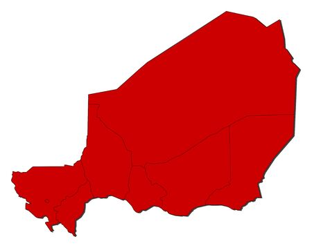 Map of Niger with the provinces, colored in red.