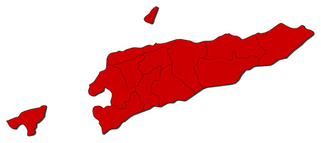 Map of East Timor with the provinces, colored in red.